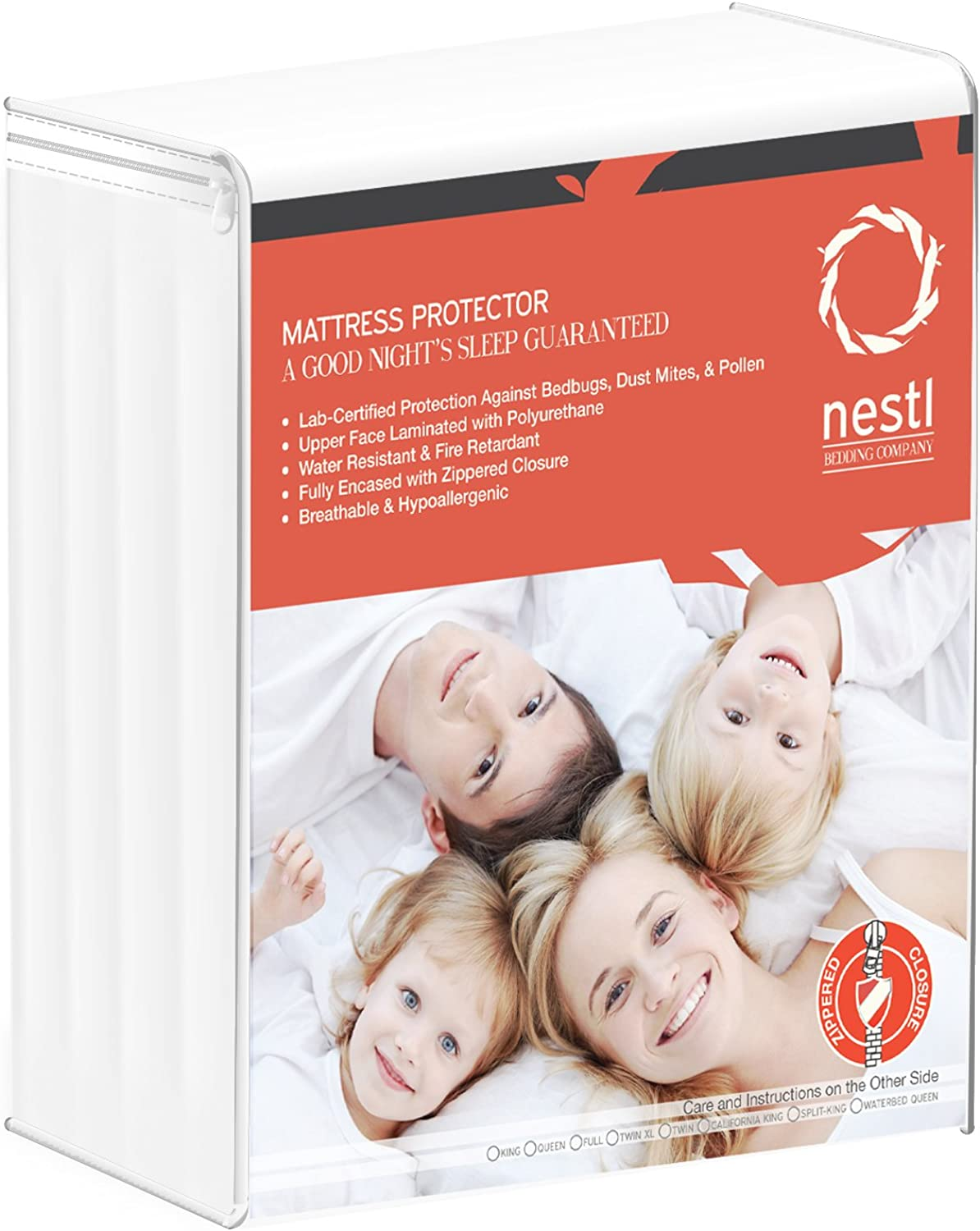 Sleep Defense Mattress Predector Encasement for Bed Bugs, King, Waterproof Secure 6 Sided Zippered Allergy Proof Relief Bed Cover Mattress Predector