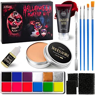 AFFLANO Special Effects Stage Halloween Makeup Set,All-in-1 SFX Makeup Kit-Face Body Painting+Fake Scar Wax+Coagulated Blo...