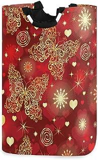 N\A Panier à Linge Papillon Vintage Coeurs Saint-Valentin avec poignées Panier de Rangement Pliable étanche Grand Corbeill...