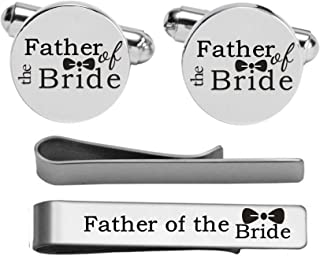 Kooer Custom Personalized Wedding Engraved Cuff Links Tie Clip Set Engrave Wedding Cufflinks Jewelry Gift