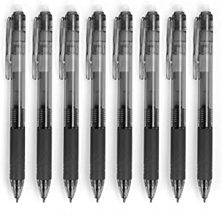 Erasable Gel Pens, Freehawk 8 Pcs 0.7mm Retractable Gel Ink Rollerball Pens for Adult & Kids Bullet Journal Note Taking Agenda School & Office (Black)