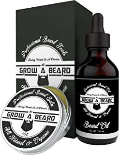 Beard Oil & Balm Grooming Kit for Men - All Natural and Organic Unscented Beard Oil - Leave-in Conditioner Premium Sandalwood Beard Balm with Argan & Jojoba Oils Also Perfect as Mustache Wax