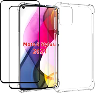 EasyLifeGo for Motorola Moto G Stylus 2021 Case with Tempered Glass (2 Pieces) Slim Shock Absorption TPU Soft Edge Bumper ...