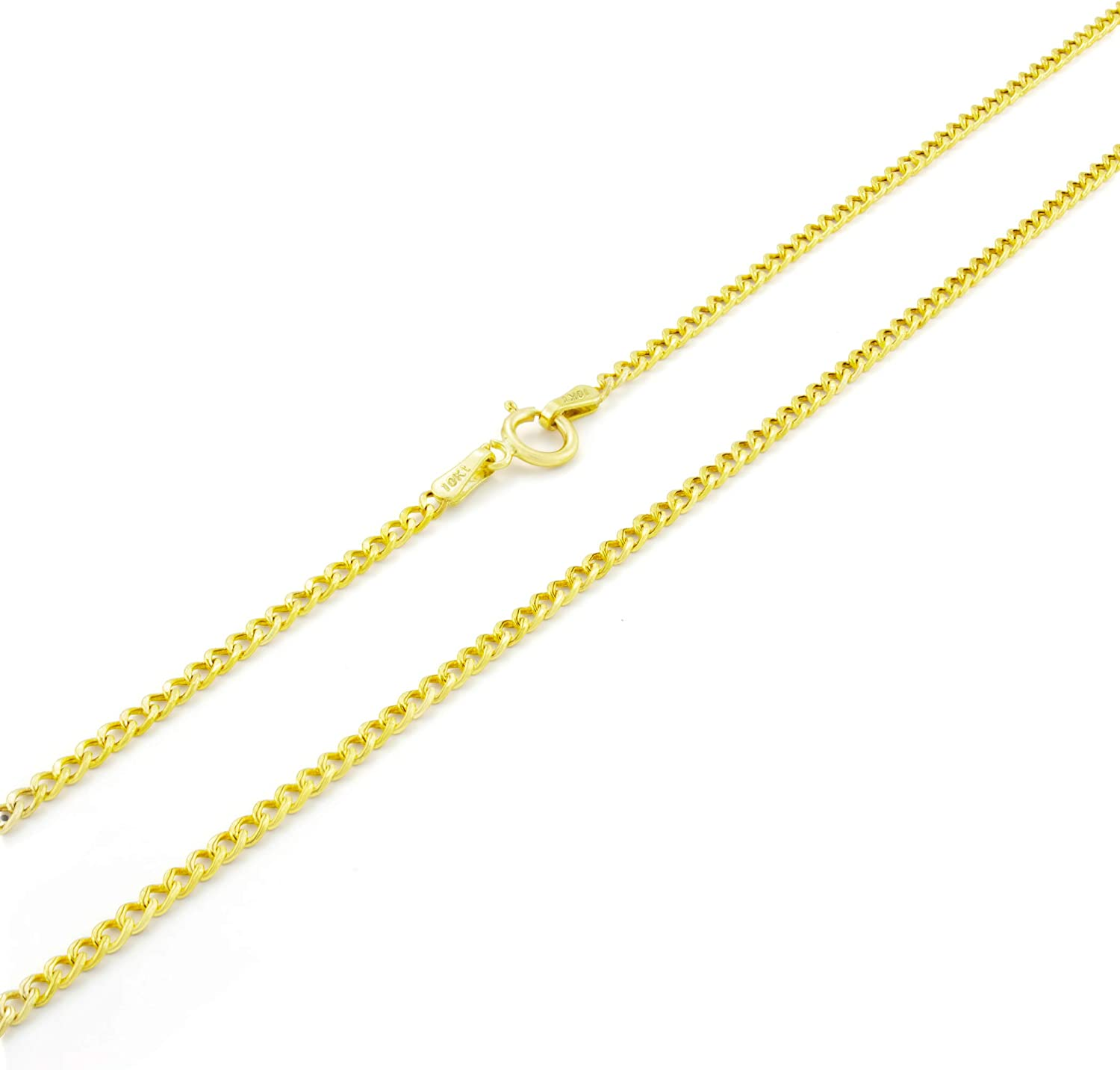 Nuragold 10k Yellow Gold 2mm Cuban Curb Link Chain Pendant Necklace, Womens Mens Jewelry 16