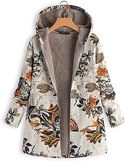 KCatsy Donna Plus Size Oversize Cappotto Parka Giacche con Cappuccio Cappotto con Fodera in Pelliccia di Flanella Peluche Teddy Cappuccio