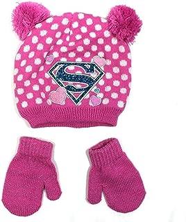 Supergirl Superman Toddler Girls Pom Pom Beanie Hat & Mittens Set