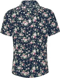 Men Short Sleeve Button Front Floral Print Cotton Beach Hawaiian Shirt
