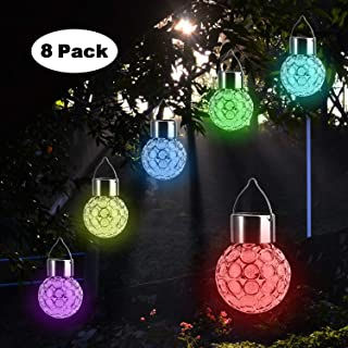 Beinhome 8 Pack Solar Hanging Lights, 7 Color Changing Globe Solar Lantern Waterproof Outdoor Decorative Hanging Ball Lights for Garden Patio Yard Landscape