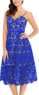 Women A Line Lace V-Neck Cocktail Party Midi Skirt Spaghetti Strap Dress