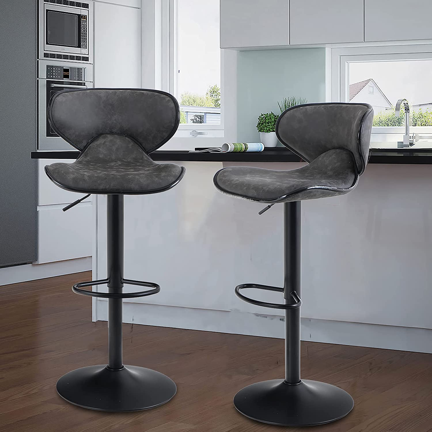 Maison Counter Height Bar Stools Set of 9 Swivel Adjustable Barstools with  Back for Kitchen Counter Tall Bar Height Chairs Faux Leather High Stools ...