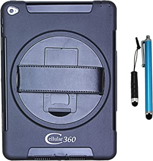 Cellular360 Shockproof Case for Apple iPad Mini 4, Protective and Handy with 360 Degree Rotatable Kickstand and Handle (Black)