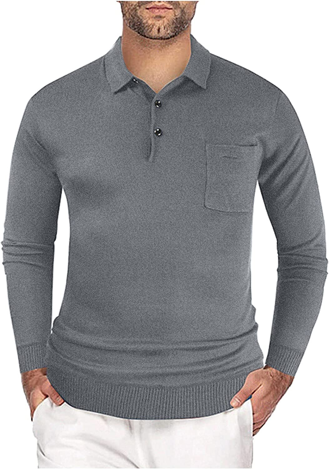 UBST Knit Shirts for Mens, Front Placket Button Lapel Collar Polo Shirt Long Sleeve Business Casual Fall Wool Tops