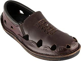 tZaro Genuine Leather Dark Chocolate Sandal - Transformer, DMRONBLK25
