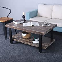 Rustic Coffee Table with Storage Open Shelf,Reclaimed Wood & Metal Legs Mid Century Modern Coffee Table for Living Room,Industrial Solid Wooden Farmhouse Coffee and End Table Sets Low Table(39.3in)