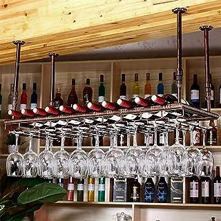 Support mural pour bar à vin, support en verre pour barre suspendue et porte-bouteille suspendu Bar de restaurant réglable...
