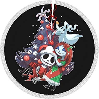 Kousaka Jack Sally Nightmare Before Christmas Tree Skirt with Tassel 48 Inch Large Xmas Tree Skirt Christmas Decoration for X