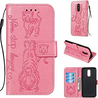 Shinyzone Wallet Case for LG Stylo 4/Q Stylus/Stylus 4,Flip Folio Purse Case,Never Stop Learning Quote Emboss Tiger Cat Pattern PU Leather with Magnetic Closure Skin,Pink