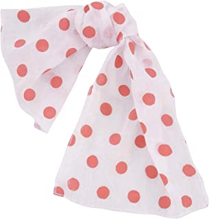 white scarf with pink polka dots