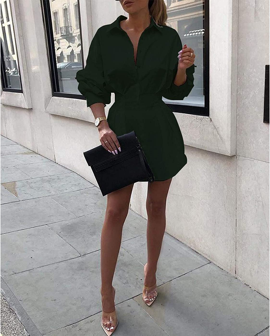 Sexy Mini Shirt Dress for Women - Casual Button Down Blouse Long Sleeve V Neck Belted Shirts Blouse Top Short Dress