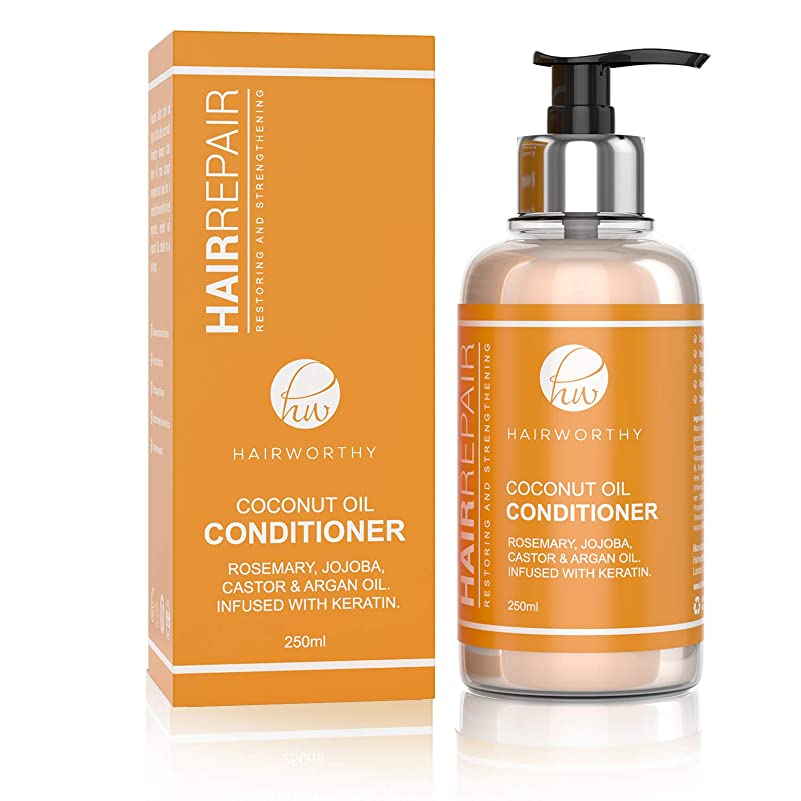 レース用心深いキウイHairworthy Hairrepair ヘアリペアココナッツオイルコンディショナー-ローズマリー、ホホバ、ヒマシ油、アルガンオイル。ケラチンを注入します。