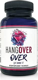 Hangover Prevention & Relief with Liver Detox Support (90 Vegetarian Capsules), Nutrient & Electrolyte Replenishment with Milk Thistle, N-Acetyle Cystein, Ashwagandha, Gingko Biloba, Green Tea, Bacopa