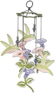Sunset Vista Metal Garden Wind Chimes, Hummingbird and Flowers, 12-Inch