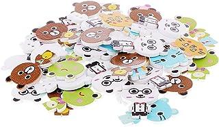 Baoblaze 50pcs Misto Dos Desenhos Animados Animais Botões Madeira Botão Crianças Costura Artesanato Acessório
