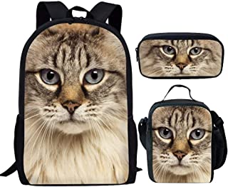 Coloranimal Back to School Shoulder Backpacks+Cooler Warm Lunch Portable Pouch+Pencil Stationery Pen