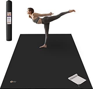 """CAMBIVO Large Yoga Mat, Wide Exercise Mat 6`x 4` x 8 mm (72""""x 48"""") Extra Thick Workout Mat for Pilates Stretching Home Wor..."""