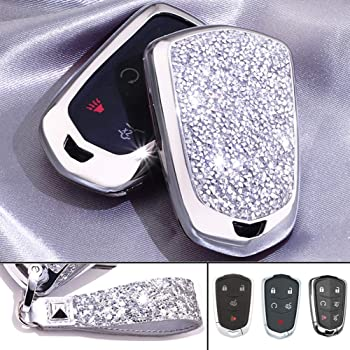 2 3 4 Buttons 3D Bling Smart keyless Entry Remote Key Fob case Cover for Honda Jade HR-V CR-V Accord Crider Vezel Civic Greiz Spirior Elysion Fit City Crosstour Keychain Silver Royalfox TM