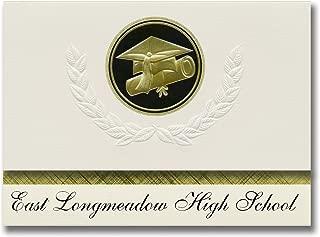 Signature Announcements East Longmeadow High School (East Longmeadow, MA) Graduation Announcements, Presidential Basic Pack 25 Cap & Diploma Seal. Black & Gold.