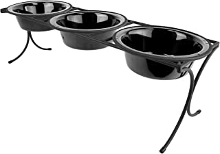Platinum Pets 12 Cup Bistro Triple Raised Feeder with Stainless Steel Wide Rimmed Bowls, Midnight Black