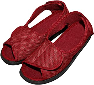 Cozy Ankle Women's Diabetic Slippers for Edema, Bunions, Open Toe Adjustable Mesh Sandals, Extra Wide Arthritis House Shoes