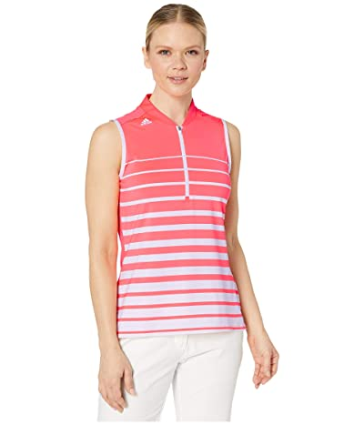 adidas Golf Engineered Stripe Polo Shirt (White/Flash Red) Women