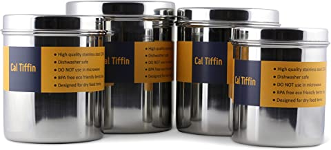 Cal Tiffin Stainless Steel CANISTER food storage set of 4 with lids (86, 64, 48, 36 fl oz). Great for sugar, coffee, tea, flour storage - Eco friendly, Dishwasher Safe; Made in INDIA
