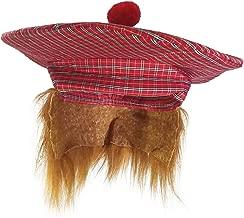 Golf Scottish Irish Tam Hat Plaid Tam O Shanter with Hair Costume Accessory