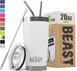 Beast 20oz Insulated Reusable Tumbler – BPA Free Stainless Steel Coffee Cup with..