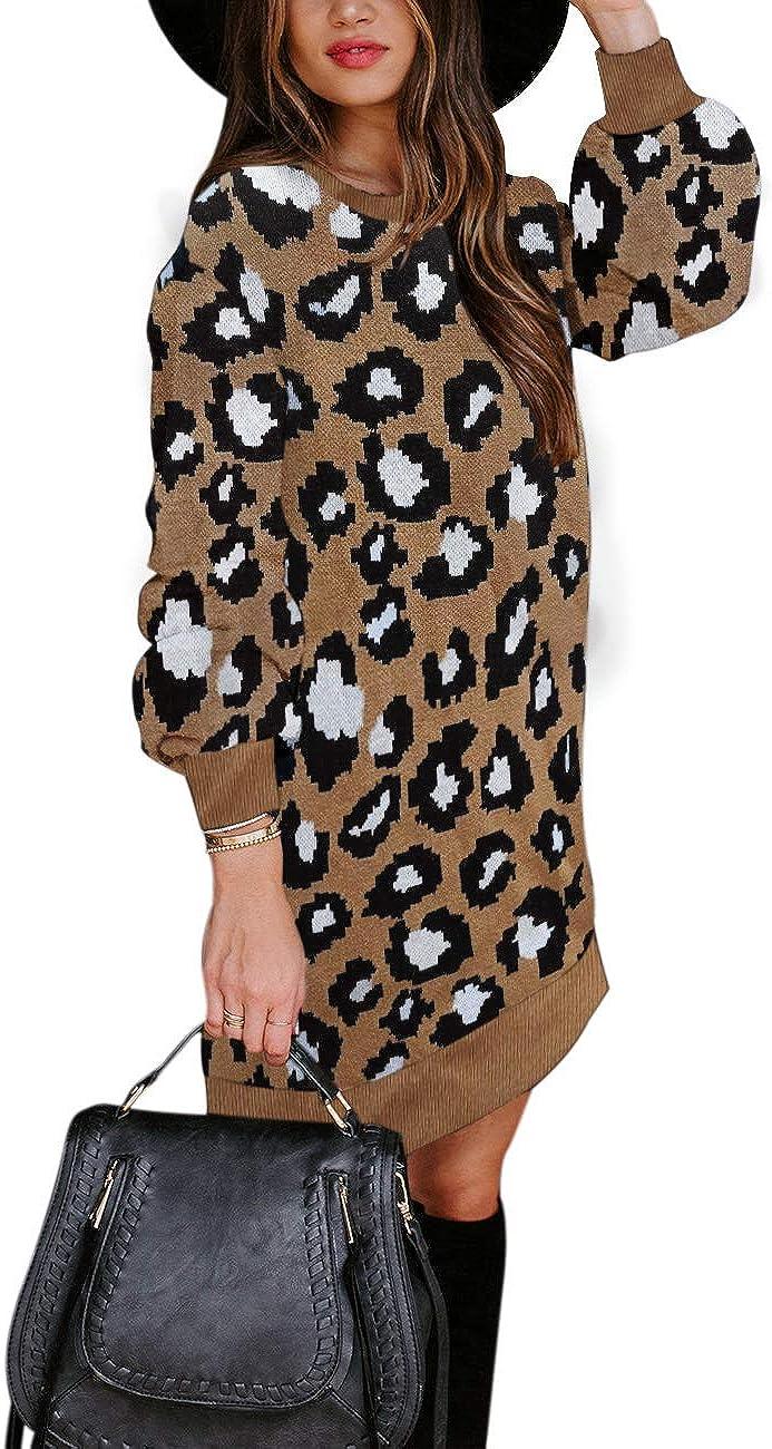 MEROKEETY Womens Leopard Knit Pullover Sweater Dress Long Sleeve Crew Neck Winter Sweaters