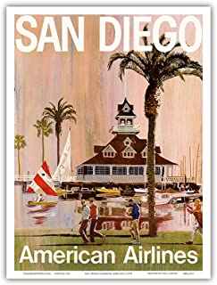 San Diego - California - American Airlines - Vintage Airline Travel Poster by V.K. c.1970 - Master Art Print - 9in x 12in