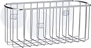 iDesign Basket with Suction Cups, Small Metal Shelf with no Drilling, Compact Shower Caddy for Bathroom Accessories, Chrome