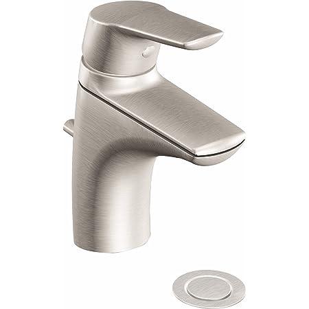 Moen 6810BN Method One-Handle Single Hole Bathroom Sink Faucet with Optional Deckplate, Brushed Nickel