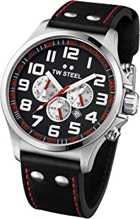 TW Steel Men's Quartz Watch Chronograph Display and Leather Strap, TW-TW415