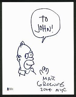 Matt Groening The Simpsons Signed 8.5x11 Homer Sketch BAS #C96976 - Beckett Authentication