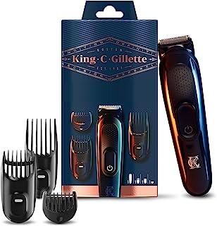 King C. Gillette Recortadora de Barba y Cortapelos Inalámbrica Hombre con Cuchillas de Larga Duración + 3 Peines Intercamb...