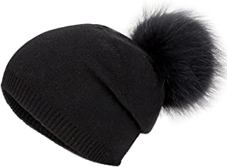 Winter Knit Hat Warm Thick Raccoon Fur Pompom Knit Skull Pure Color Fashion Cashmere Blend Slouchy Beanies for Women