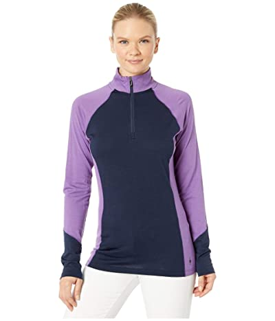 Smartwool Merino 150 Base Layer Color Block 1/4 Zip (Deep Navy) Women