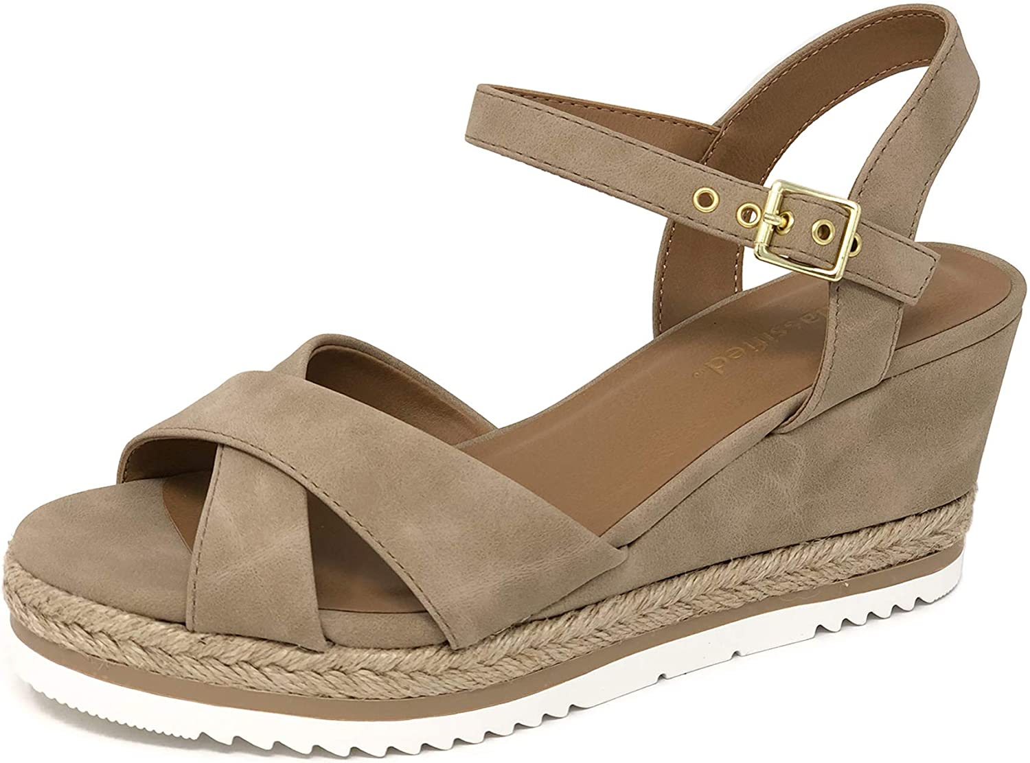 CITYCLASSIFIED City Classified Women's Criss Cross Open Toe Strappy Sandal Taupe on 8 M US