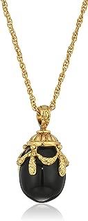 1928 Jewelry 14k Gold Dipped Semi Precious Gemstone Black Egg Pendant Necklace, 30
