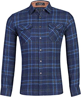 Clásicos Camisa de Franela de Manga Larga para Hombres,Camisa de Leñador,Camisas a Cuadros con Botones,Blusas con Estilo C...
