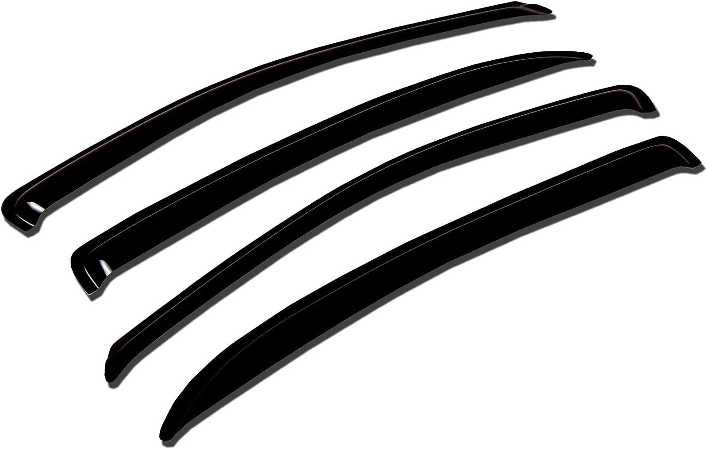 TuningPros WV-441 Window Visor Deflector Dark 4 Max 63% OFF Rain Guard Smoke Max 64% OFF